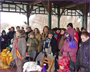 Hundreds endure the cold at a rally at St. Catharines' Montebello Park for murderd and missing Native women and girls. Photo by Terry Nicholls